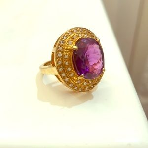 Sterling silver 925 with amethyst ring , size 7.5